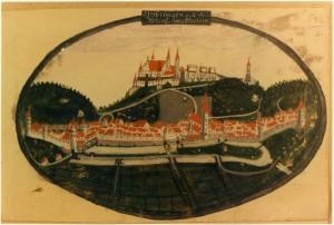 Geißlingen mit Schloß Helffenstein, Gouache um 1600 (Stadtarchiv Ulm)